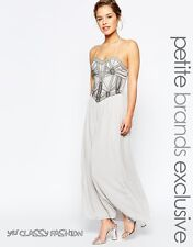 Maya Petite Embellished Bodice Bandeau Maxi Party Cocktail Dress Grey UK10 EU38