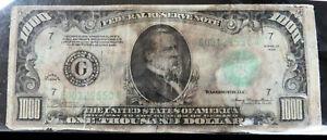 1934 US $1000 BILL FRN NOTE HURRICANE SURVIVOR CHICAGO IL