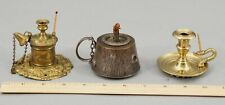 3 Antique 19thC Lighting Lamps, Advertising, Go-To-Bed Match Holder & Oil Lamp