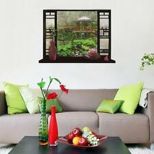 Garden Scenery 3D Window View Scene Removable Sticker Wall Decals Home Decor