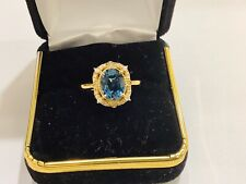 2ct London Blue Topaz diamonds,10k  Gold Statement,gemstone Ring,size7i