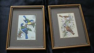 Cash's Woven Silk Pictures Bluetits and Crested Tits Framed x 2