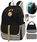 Women Girls Canvas School Backpack USB Charging Port Rain Cover Lunch Bag Purse