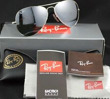 RAY-BAN SUNGLASSES AVIATOR RB 3025 W3275 55MM SILVER CRYSTAL GRAY MIRROR NEW