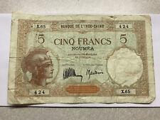 1926 New Caldonia Noumea 5 Francs Note VG Circ. #8105