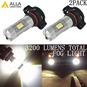 Alla Lighting 3200lm 6000K 27-LED 2504 Fog Light Driving Bulbs Lamps Xenon White
