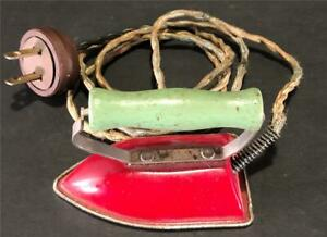 VINTAGE 1940'S CHILD'S TOY ELECTRIC IRON RED ENAMEL WITH WOOD HANDLE