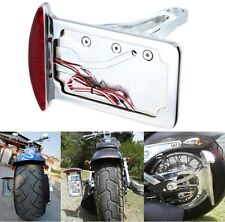 Motorcycle Side Mount License Plate Assembly Chrome LED Tail Brake Light CHROME