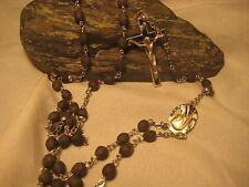 "VINTAGE ""CREED STERLING"" ROSARY, HOLY MEDAL AND CRUSIFIX marked ""STERLING"""