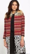 River Island Multi Aztec Tribal Removable Faux Fur Collar Jacket size 8