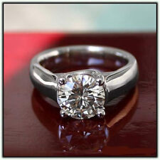 Ghi Lucern Solitaire Engagement Ring 1.00 Ct Moissanite Round Forever One