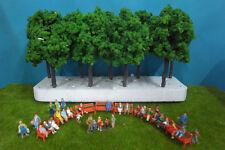 VFN11560- 10 pcs Layout Train Model Trees HO & 32 pcs 1:87 Painted Figures