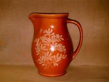 Vintage Hyalyn USA Pottery Pitcher or Jug-904-Raised Hand Painted Foliage-Brown