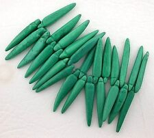 "7"" Strand Magnesite Green Blue Color Bear Claw Tooth Style  Bead Strand"