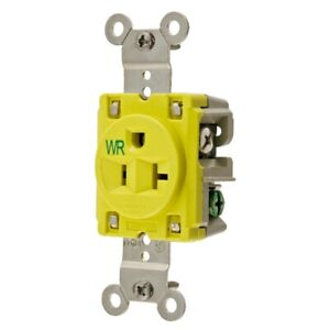 20A SINGLE RECEPTACLE 125VAC 5-20R YL HUBBELL WIRING DEVICE-KELLEMS HBL53CM61
