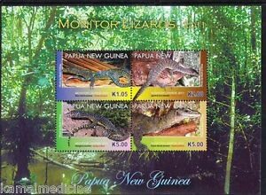 Papua NG 2011 MNH SS, Blue tailed, Spotted tree, Mangrove, Monitor lizards