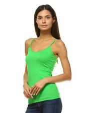 ANNA WOMEN'S CAMIS TANK TOP STRETCH CAMISOLE LAYERING PLAIN TEE FOREST GREEN