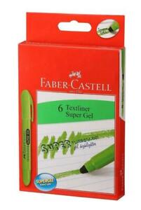 Faber-Castell Gel Green Textliner Highlighter Pack of 6 Text Markers