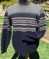 EDDIE BAUER Mens Navy Blue,Gra,White 100% Lambswool Crewneck Sweater ~ Sz L