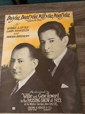 Sheet Music - do you, don't you, will you, won't you - willie & gene howard 1923