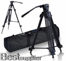 """Pro Heavy Duty Video DV 52"""" Tripod Stand w/ Fluid Pan Head Kit Handle Arm Case"""