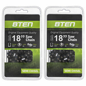 8TEN Chainsaw Chain for Stihl MS210 MS250 18 Inch Bar .063 .325 68DL 2 Pack