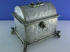Old Dutch Silver Marriage Box Casket 17th century style w/ engraved scenes