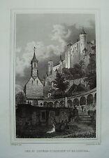 Salzburg Burg  Peters-Kirchhof  Österreich  echter alter Stahlstich  1844