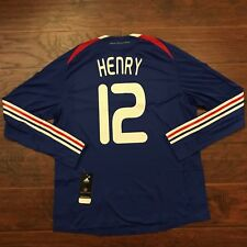 2008 France Home Jersey #12 Henry XL Player Issue L/S Adidas Soccer Maillot NEW