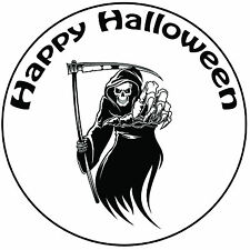 "Halloween Grim Reaper Cake Topper Easy Pre-cut Round 8"" (20cm) Icing Decoration"