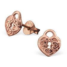 Rose Gold Sterling Silver Heart Lock stud earrings, GP hypoallergenic jewelry