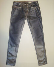 """BEAUTIFUL SASS&BIDE SILVER FOIL PRINTED SKINNY JEANS 28 """"SILENCE AND SPLENDOUR"""""""