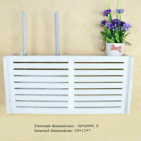 White Wifi Router Box Plastic Shelf Wall Hanging Bracket Storage Cable Organizer