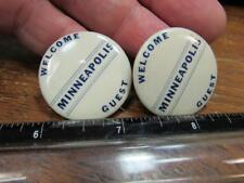 Welcome Guest Minneapolis 2 Pinbacks Pinback Souvenir Pin (17j2)