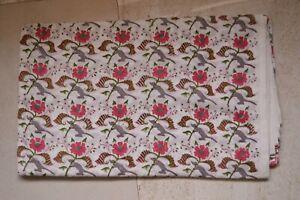 Print_628 Hand Block Printed Floral Print Fabric 2.5 Yard 100%Cotton**