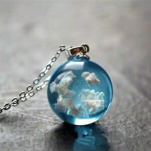 Chic Transparent Ball Moon Pendant Necklace Women Chain Necklace Fashion Jewelry