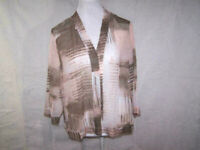Chico's Cardigan Sz 2 Sheer Open Front 3/4 Sleeves Pale Pink Brown Womens Large