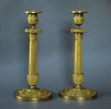 """Exquisite Pair of Signed Early 19th c French Empire 11"""" Gilt Bronze Candlesticks"""