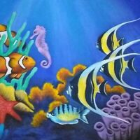 Aquarium painting gift fish sea life  pet original artist acrylic on canvas