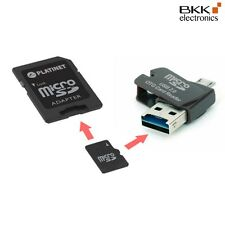 4 in 1 Nano USB Card Reader + 8 GB microSD class 4 + SD Adapter + OTG schwarz