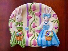 "NWT FITZ & FLOYD Be Bop Bunnies Easter Platter & Wall Hanging 10""x 9"""