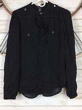 White House Black Market WHBM Womens Black Silk Blouse Size 10 Long Sleeve Sheer