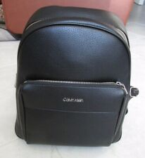 NEW Calvin Klein Womens Backpack Black Pebbled Faux Leather $178.00