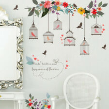 Colorful Flower Vine Bird Cage Wall Stickers Decals Bedroom Decoration Removable