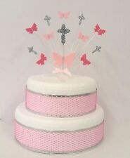 Butterfly cross holy communion or christening cake topper, personalised colours