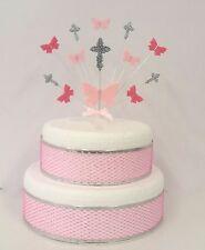 BUTTERFLY CROCE SANTA COMUNIONE O BATTESIMO CAKE TOPPER, colori personalizzati