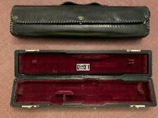Wm. S. Haynes flute case & kit, black kidskin leather wrapped, 1950's + gig bag.