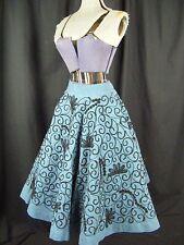 GRACIELA'S Vtg 50s Denim Blue Full Circle Skirt w/Black Embroidery-Waist 24-26
