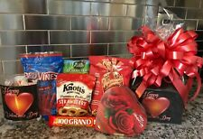 Valentines Gift Basket / Box With Chocolates-Cookies-Candy Black Box & Red Bow
