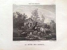 IL RIPOSO DEGLI ANIMALI fattoria Incisione orig. XIX sec THIERRY VAN BERGEN